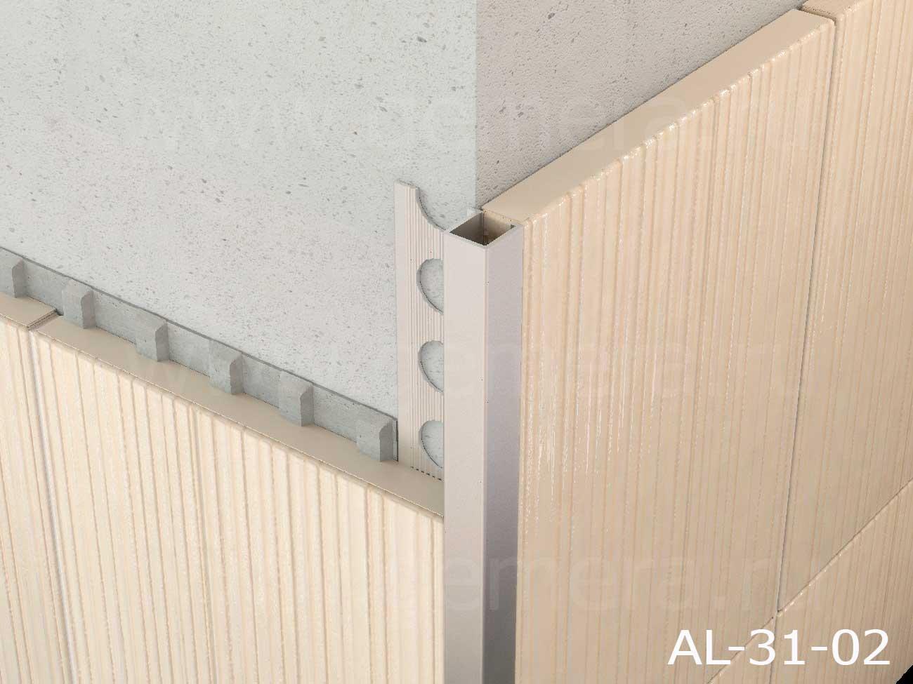 Профиль Р-образный для кафельной плитки внешний Butun AL-31-02