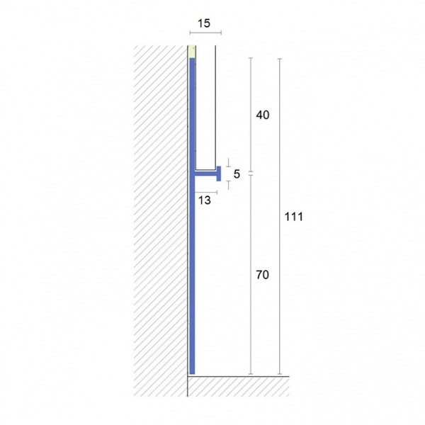 Встраиваемый  (скрытый) алюминиевый плинтус Fezard ALP-G70/40