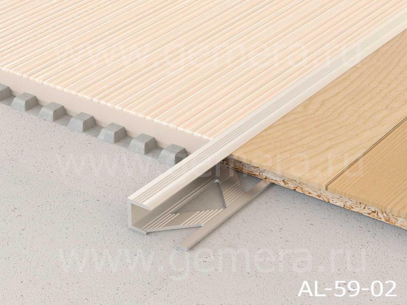 """Профиль для ламината оконечный с рифлением """"Panel L"""" AL-59-02"""
