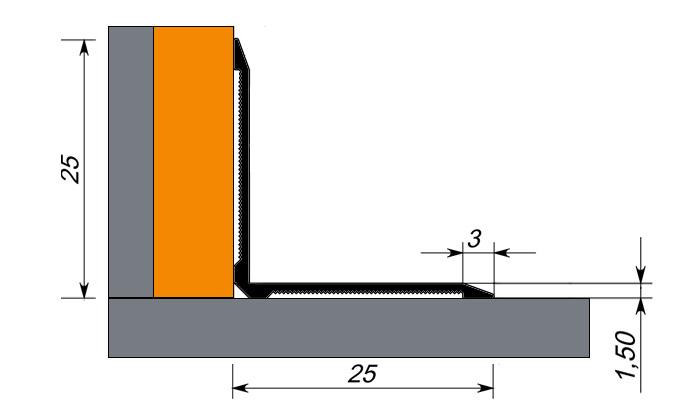 Уголок алюминиевый внутренний Fezard AL-V
